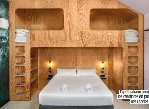 ??  ?? Esprit cabane pour les chambres en pin des Landes.