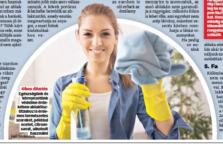 ?? Fotó: Shutterstock ?? Okos döntés Egészségünk és környezetünk védelme érdekében ablaktisztításhoz is érdemes természetes szereket, például ecetet, citromsavat, alkoholt használni