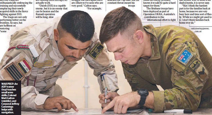 ??  ?? WAR PREP: An ADF trainer (top) teaches small arms skills; Colonel Matt Galton (middle); and Corporal Jeffrey Cummings helps with navigation.