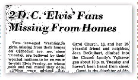 ??  ?? OCT. 4, 1956: The Washington Post reports the disappearance.