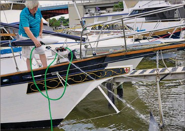 ??  ?? The bowsprit on my schooner, Britannia, made washing down the anchor to get underway a chore. The solution? An easy, handy DIY deck-wash system.