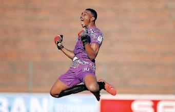 ??   STEVE HAAG BackpagePix ?? BAROKA goalkeeper Oscarine Masuluke celebrates teammate Richard Mbulu's winning goal in their Premiership match against AmaZulu at King Zwelithini Stadium in Durban yesterday.