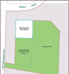 ??  ?? The white area is where the proposed City Hall/library would go — beside the Johnson-Bentley Memorial Aquatic Centre and in front of Memorial Park, both in green.