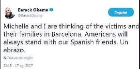 ??  ?? Este mensaje de Obama ha sido uno de los más retuiteados en España