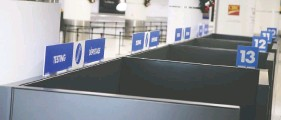 ?? VERONICA HENRI / POSTMEDIA NEWS ?? An area of Terminal 3 at Toronto's Pearson International Airport is set up for a new pilot rapid COVID testing program for international travellers on Tuesday.