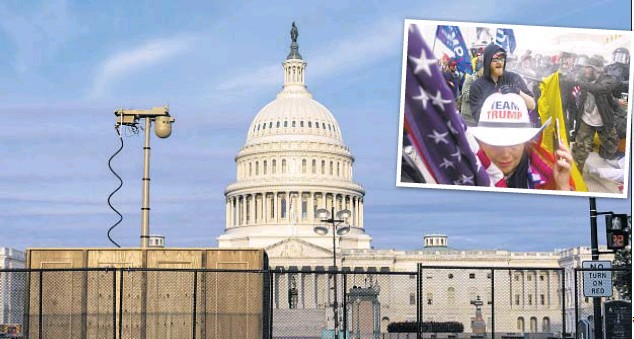 ??  ?? Fencing (also below) and surveillance equipment was installed around Capitol in Washington ahead of planned Saturday protest against purported persecution of Jan. 6 rioters (inset).