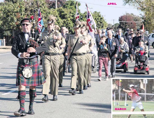 ??  ?? ANZAC DAY TRIBUTE: The street march in Violet Town, led by lone piper Greg Robertson, was a solemn show of respect for service personnel past and present. APRIL