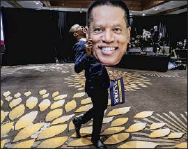 """?? Robert Gauthier Los Angeles Times ?? ERROL WEBBER of Costa Mesa shows his support for Larry Elder at the candidate's election party in Costa Mesa. Elder says he has """"become a political force."""""""
