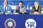 ?? PHOTO: PTI ?? ( From L to R) BCCI President C K Khanna with STAR India Chairman & CEO Uday Shankar and Member of Committee of Administrators (BCCI) Diana Edulji at the auction for IPL media rights in Mumbai on Monday