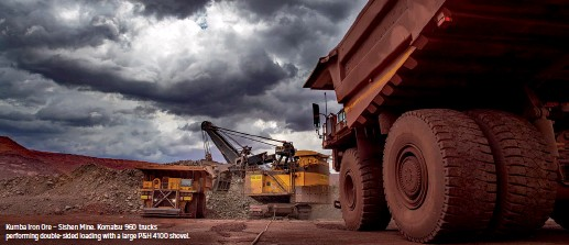 ??  ?? Kumba Iron Ore – Sishen Mine. Komatsu 960 trucks performing double-sided loading with a large P&H 4100 shovel.