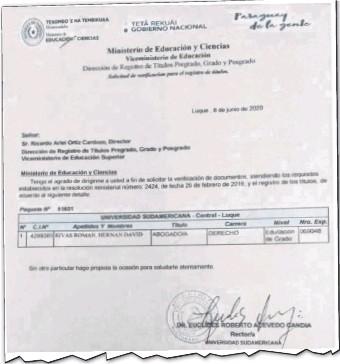 ??  ?? La nota enviada por la Universidad Sudamericana a la Dirección de Registro de Títulos del MEC, para solicitar el registro del certificado de Rivas, estuvo firmada por el ministro Acevedo.