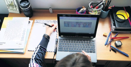 ??  ?? Learning from home Pupils in Perth and Kinross will once again need to get used to remote learning