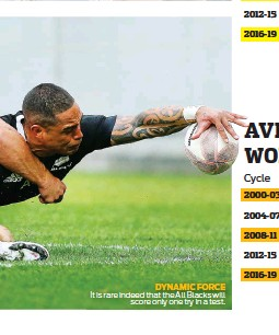 ??  ?? DYNAMIC FORCE It is rare indeed that the All Blacks will score only one try in a test.