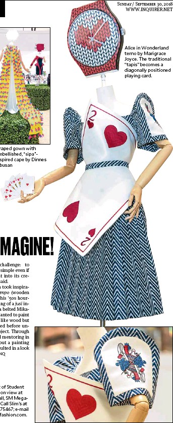 """??  ?? Draped gownwith embellished, """"sipa""""inspired cape by Dinnes Obusan Alice in Wonderland terno by Marigrace Joyce. The traditional """"tapis"""" becomes a diagonally positioned playing card."""