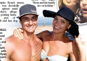??  ?? LOVE TRIANGLE: Warren Riley and Lauren Brant; and (insets from left) Brant with Beau Ryan; and Ryan's family.
