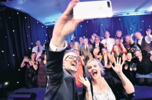 ??  ?? Finalists fun The glamour of last year's event caught by photographer John Keachie