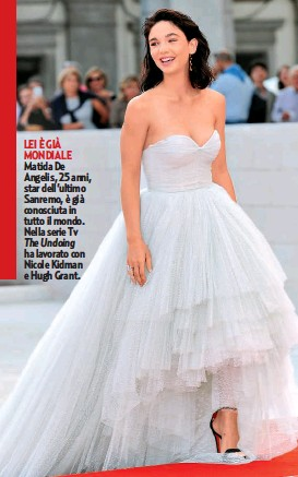 ??  ?? LEI È GIÀ MONDIALE Matida De Angelis, 25 anni, star dell'ultimo Sanremo, è già conosciuta in tutto il mondo. Nella serie Tv The Undoing ha lavorato con Nicole Kidman e Hugh Grant.