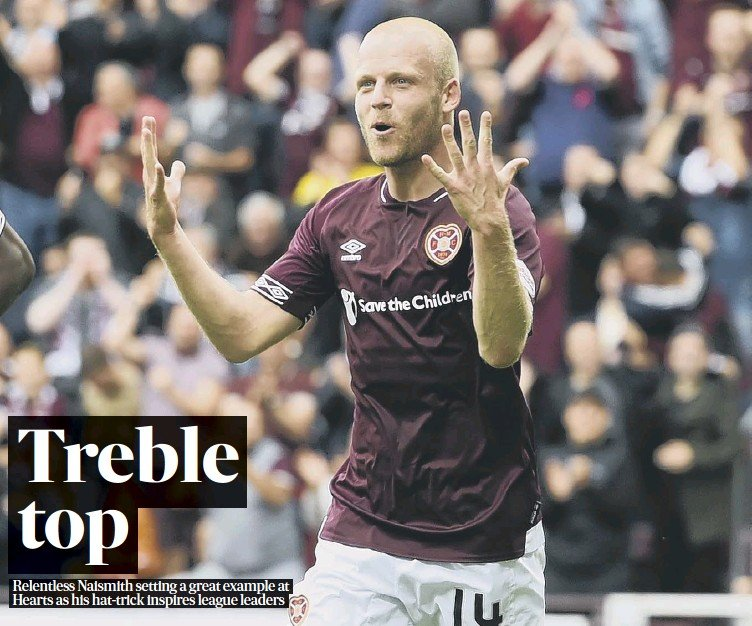 ??  ?? 0 Steven Naismith celebrates after his three goals fired Hearts to a 4-1 win over St Mirren that leaves the Gorgie side sitting three points clear at the summit of the Premiership.
