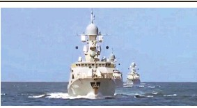 ?? RUSSIAN DEFENSE MINISTRY VIA EPA ?? Russia deployed warships from the Caspian Flotilla in the southwestern Caspian Sea, where missile strikes are launched into Syria.