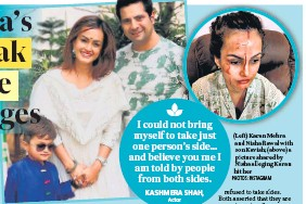 ?? PHOTOS: INSTAGRAM ?? (Left) Karan Mehra and Nisha Rawal with son Kavish; (above) a picture shared by Nisha alleging Karan hit her