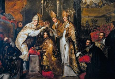 ??  ?? Couronnement de l'empereur Charles Quint à Bologne par le pape Clément VII, le 24 février 1530, peinture anonyme, d'après Gaspard Crayer (15841669).