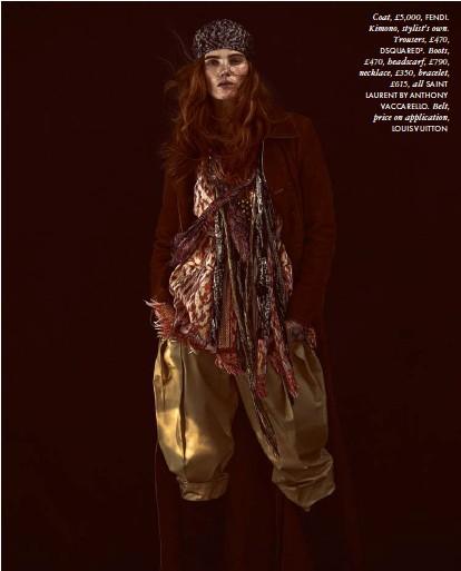 ??  ?? Coat, £5,000, FENDI. Kimono, stylist's own. Trousers, £470, DSQUARED2. Boots, £470, headscarf, £790, necklace, £350, bracelet, £615, all SAINT LAURENT BY ANTHONY VACCARELLO. Belt, price on application, LOUIS VUITTON