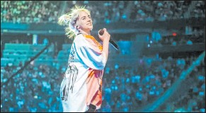 ?? Greg Noire iheartradio ?? Billie Eilish performs Saturday during the second and final night of the 2021 iheartradio Music Festival at T-mobile Arena.