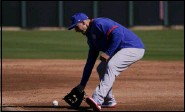 ?? JAE C. HONG - THE ASSOCIATED PRESS ?? Chicago Cubs' Anthony Rizzo fields the ball during the team's spring training baseball workout in Mesa, Ariz., Monday, Feb. 22, 2021.