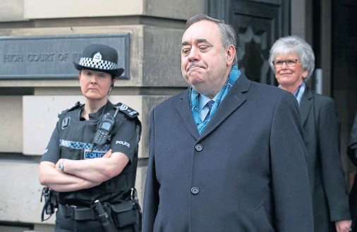 ??  ?? ACQUITTED: Former first minister Alex Salmond speaking to the press after being cleared of attempted rape and a series of sexual assaults