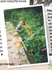 ??  ?? Mixing elements such as a birdhouse tucked into nature at Sophie's home allows things to be slowly grown over and become one with their natural surroundings, she says. (inset) In her grandmother's garden with her sister, 1996