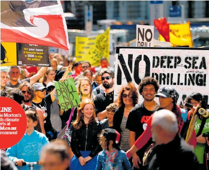 ?? Photo / Getty Images ?? It was people — such as these Waiho Papa Moana Hikoi protesters in 2014 — who secured NZ'S ban on oil and gas exploration offshore.