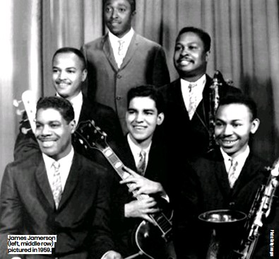 ??  ?? James Jamerson (left, middle row) pictured in 1959.