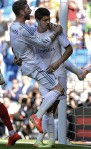 ??  ?? GETTING REAL: Morata celebrates another goal