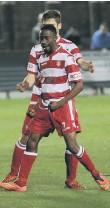 ??  ?? Fernando Moke celebrates his goal