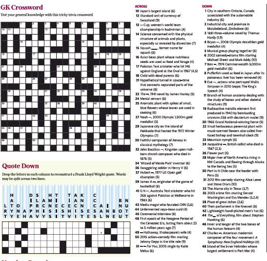 Pressreader The Daily Telegraph 2020 04 01 Gk Crossword