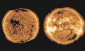 ?? FOTO: JOY NG/DPA ?? Aufnahmen der Sonne zeigen das Gestirn in einem Aktivitätsminimum (links, Oktober 2019) und bei einem Aktivitätsmaximum (rechts, April 2014).