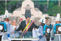 ??  ?? El presidente de Venezuela, Nicolás Maduro, ayer durante el 198 aniversario de la Batalla de Carabobo.