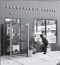 ?? JOE MAHONEY/TIMES-DISPATCH ?? The Forest Hill Avenue location of Blanchard's Coffee is seen during its adjustment to the COVID-19 pandemic. Virginia's Department of Wildlife Resources announcedWednesday it has become a partnerwith Blanchard's Coffee, with all proceeds going to Beyond Boundaries, a programthat connects kidswith disabilities to the outdoors.