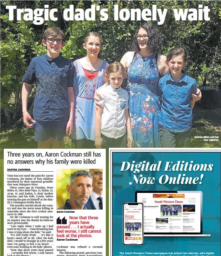 ??  ?? Aaron Cockman Katrina Miles and her four children.