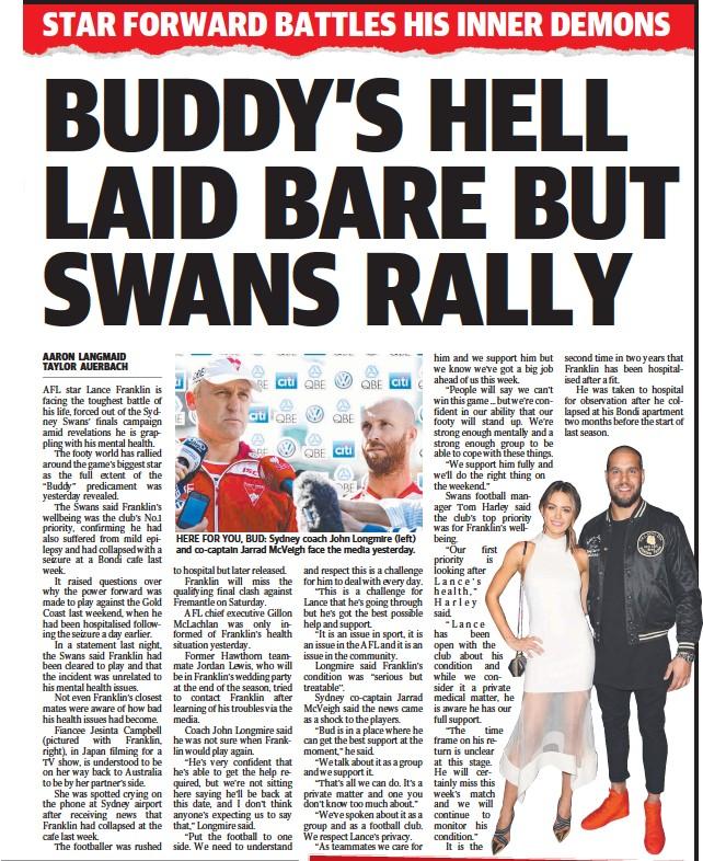 ??  ?? HERE FOR YOU, BUD: Sydney coach John Longmire (left) and co-captain Jarrad McVeigh face the media yesterday.