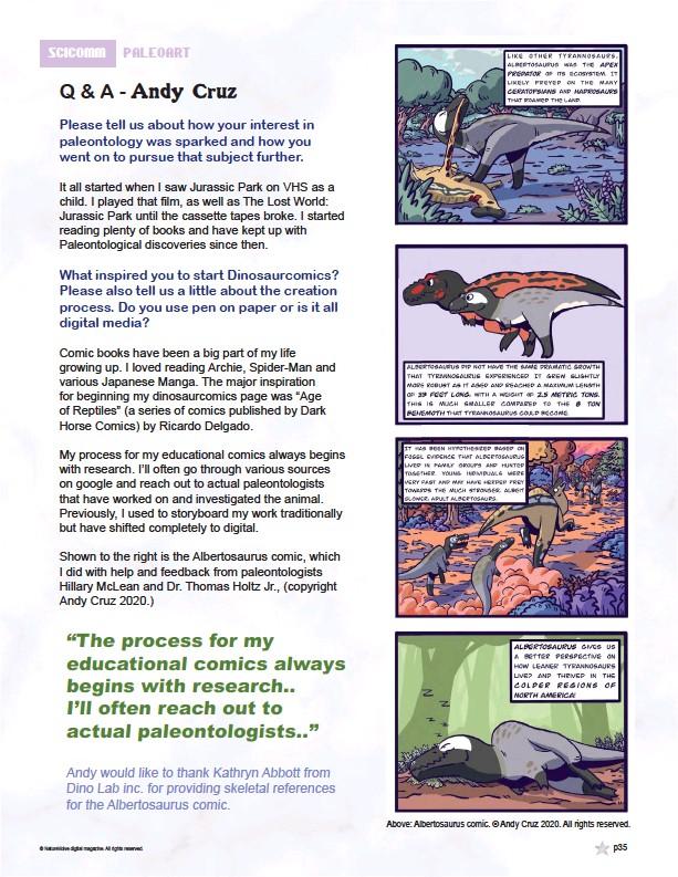 ??  ?? Above: Albertosaurus comic. © Andy Cruz 2020. All rights reserved.