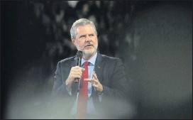 ?? 2019, THE NEWS & ADVANCE ?? Jerry Falwell Jr. stepped down as president and chancellor of Liberty University in August following a string of personal scandals.