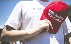 ?? ZACH GIBSON/ GETTY IMAGES ?? Donald Trump's supporters share a serene assurance that their man will be re- elected, says Gary Abernathy.
