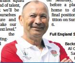??  ?? Full England Squad Backs Ali Crossdale, Saracens Fraser Dingwall,