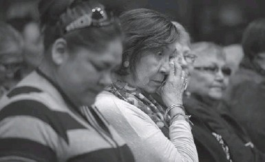 ?? ADRIAN WYLD/THE CANADIAN PRESS ?? Residential school survivors react to the release of the Truth and Reconciliation Commission report in Ottawa on Tuesday.