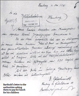 ??  ?? Barthold's letter to the authorities asking them to pay for lunch for his children