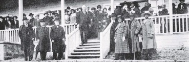 ??  ?? The Rt Hon W.F. Massey, Prime Minister (centre) officially declares open the new wing just added to the Karitane Hospital for Babies at Andersons Bay on February 11, 1921. — Otago Witness, 22.2.1921.