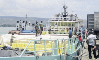 ??  ?? A vessel at the Kisumu Port loaded with cooking oil for export to Uganda via Lake Victoria/