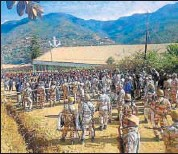 ?? PTI FILE ?? Security forces in a standoff with villagers in Manipur.