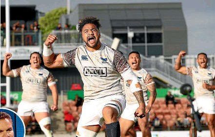 ?? GETTY IMAGES ?? Nasi Manu leads Moana Pasifika's cultural challenge before their match against the Ma¯ ori All Blacks at Hamilton last year. Inset, Sir Michael Jones is thrilled with yesterday's decision.